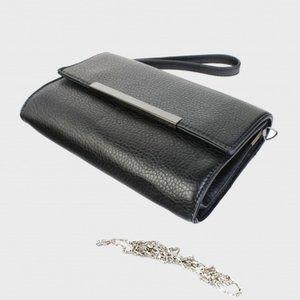 Leather Wristlet Clutch/Crossbody Purse - Black